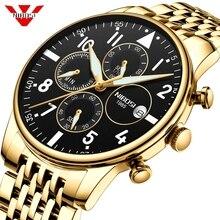 NIBOSI męskie zegarki wojskowe luksusowe marki zegarek męski zegarek kwarcowy ze stali nierdzewnej moda chronograf człowiek Relogio Masculino