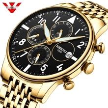 NIBOSI мужские часы, военные Роскошные брендовые часы, мужские кварцевые часы из нержавеющей стали, модные часы с хронографом, мужские часы