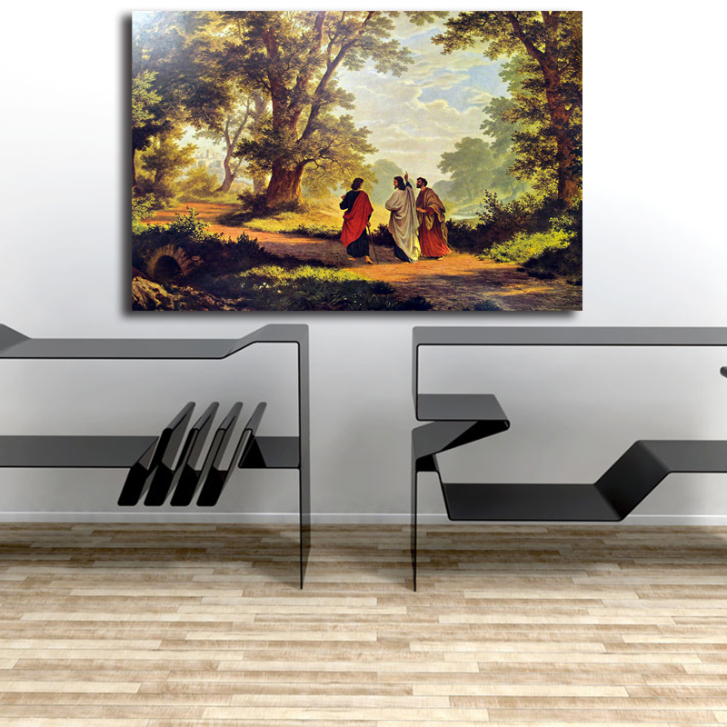 The Road To Emmaus Canvas Painting Robert Zund Juses Christ Journey Way Poster Swiss Oil Print Wall Art Picture Home Decor Aliexpress