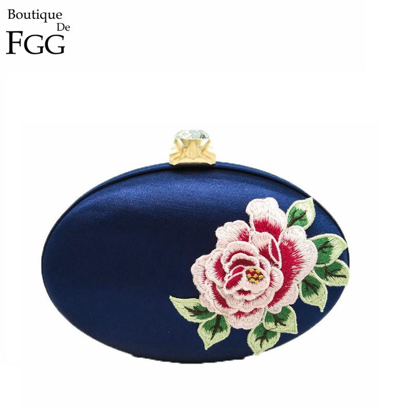 Royal Blue Women Satin Embroidery Rose Flowers Party Wedding Bridal Shoulder Handbags Purses Metal Clutches Evening Clutch Bags