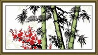 Pine Bamboo And Plum 1 Cross Stitch Kit Chinese Pattern Printed On Canvas DMC Embroidery Handmade