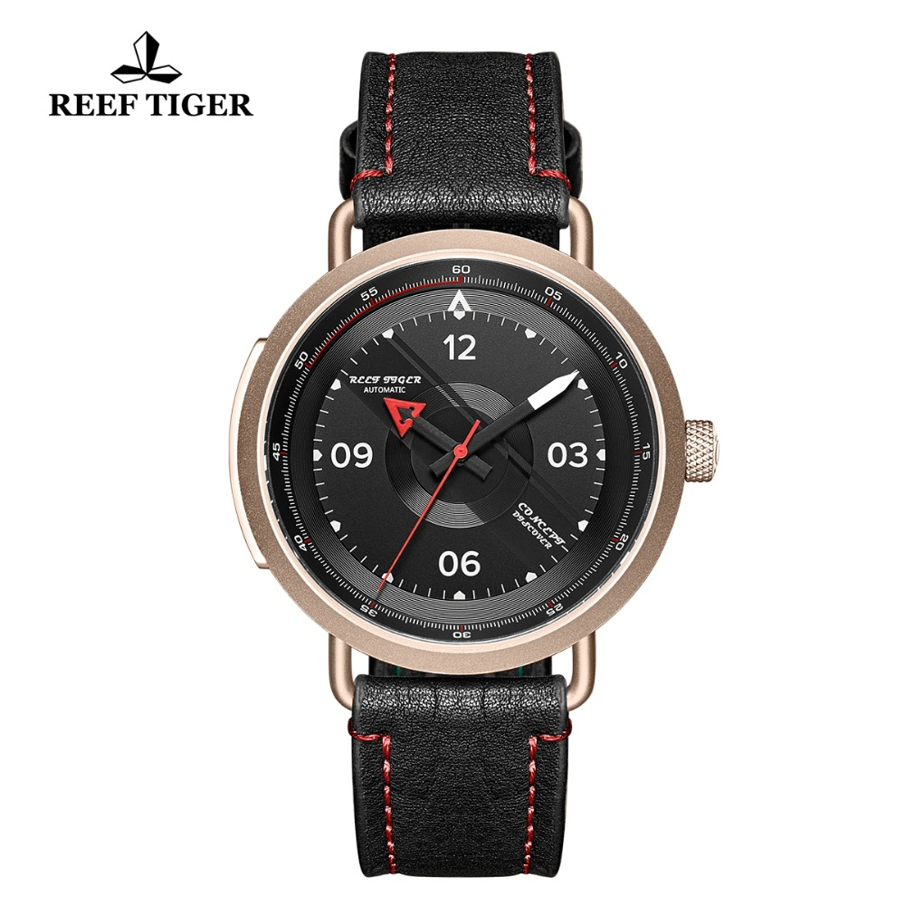 2019 Reef Tiger/RT New Design Simple Watch Men Leather Strap Rose Gold Waterproof Military Watches  Automatic Watches RGA90552019 Reef Tiger/RT New Design Simple Watch Men Leather Strap Rose Gold Waterproof Military Watches  Automatic Watches RGA9055