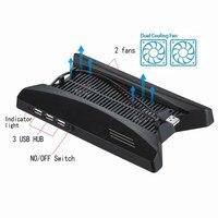 1 Pcs Dual Charging Dock Station Stand Base 3 USB HUB Port Cooling Fan Cooler For