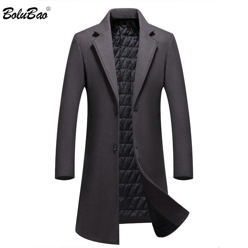 BOLUBAO Men Winter Wool Coat Men's Winter New Casual Solid Color Slim Fit Wool Blends Woolen Pea Coat Male Trench Coat Overcoat