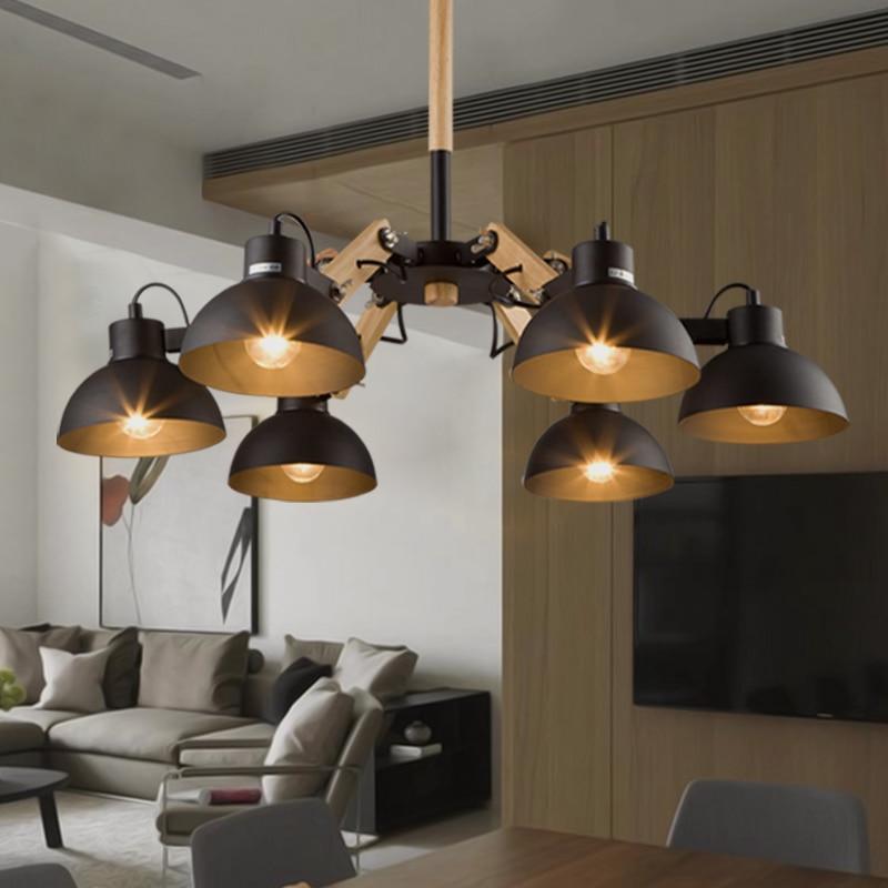 Nordic Korean loft wooden chandelier light wood dining room lamp  retro industrial adjustable Chandelier