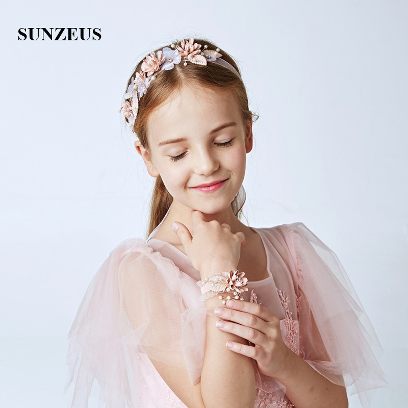 Pearls Flowers Headband for Little Girls Hair Accessories Ribbons Wrist Accessories 2 Piece Children Party Suite SG24