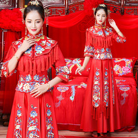 Red Novelty Tassels Ladies Long Cheongsam Chinese National Wedding Qipao Flower Embroidery Asian Bride Dress Marriage Suit