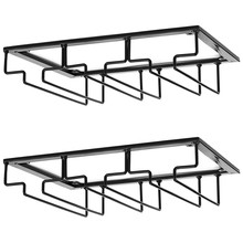 Wine Glass Rack - Under Cabinet Stemware Wine Glass Holder Storage Hanger 2 Pack Metal Organizer for Bar Kitchen Black(China)