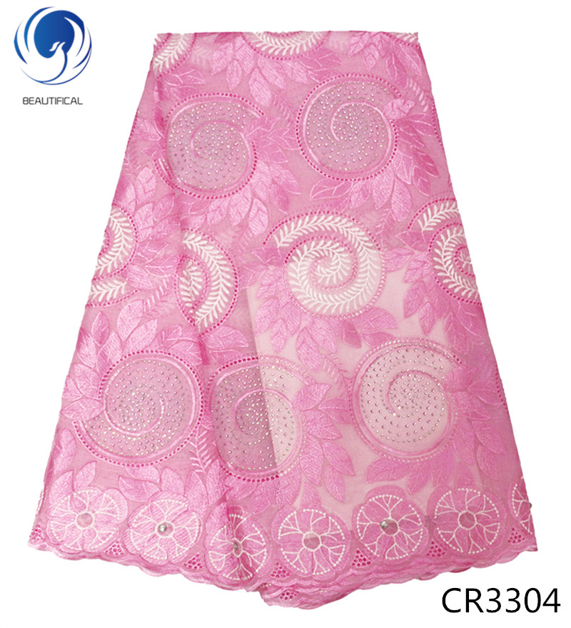 BEAUTIFICAL Pink swiss lace fabric 2018 New arrival african swiss voile lace in switzerland nigerian cotton
