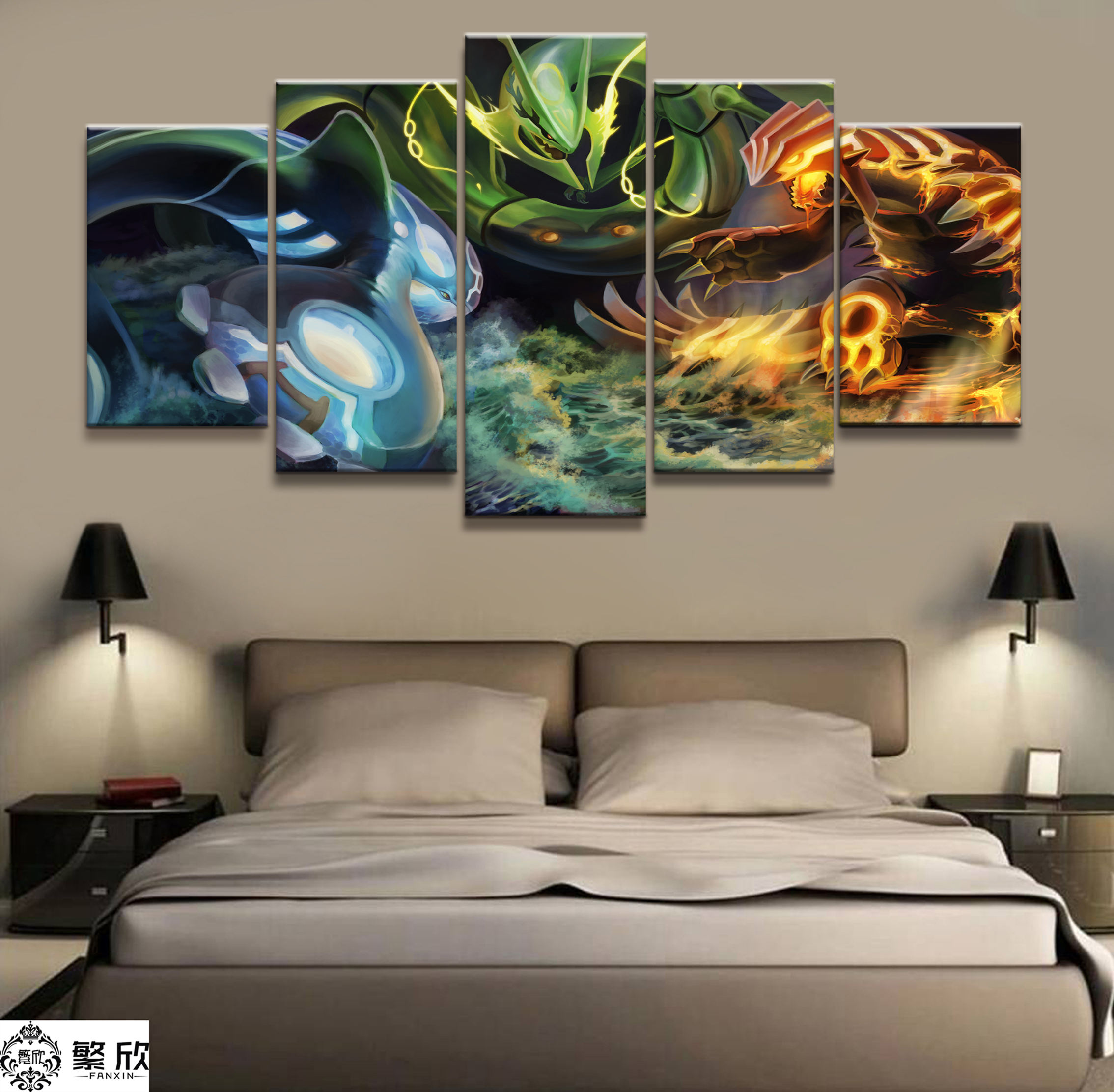5 Pieces Pokemon Comic Poster Modern Wall Art Decorative Modular Framework Picture Canvas HD Printed One Set Painting
