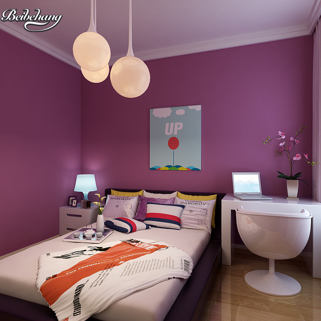 purple bedroom lavender living plain study silk woven pure non beibehang wallpapers mouse