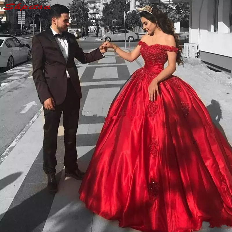 Red Lace Mother Of The Bride Dresses For Wedding Beaded Ball Gown Prom Evening Gowns Groom Godmother Dresses