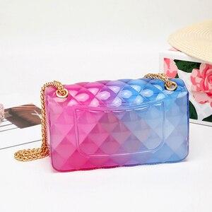 Image 2 - Модная цветная женская сумка из ПВХ высокого качества, прозрачная клетчатая желеобразная сумка через плечо, градиентная женская сумка на плечо ярких цветов