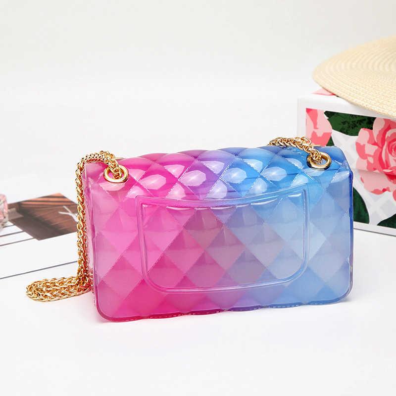Fashion Colorful PVC Tas Wanita Kualitas Tinggi Transparan Kotak-kotak Jelly Chian Tas Selempang Gradien Warna Permen Wanita Tas Bahu