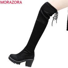 Morazora 2020 卸売膝のブーツの女性ラウンドトウプラットフォームシューズジッパーシンプルなストレッチ腿の高ブーツ滑り止め