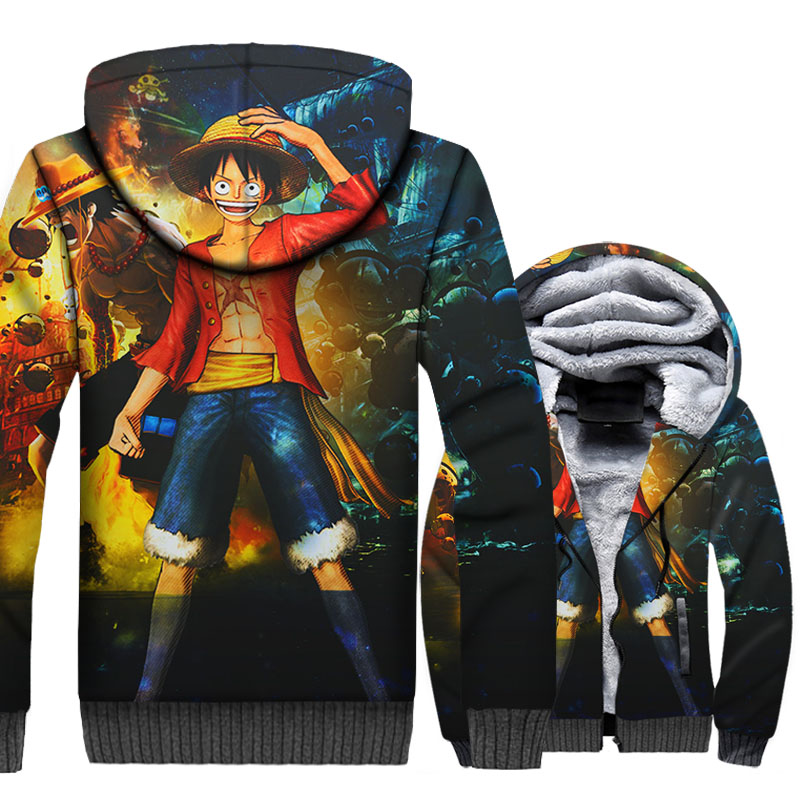 Luffy Cool Hoodies Men One Piece 3D Jackets Anime The Straw Hat Pirates Sweatshirts Winter Thick Fleece The Pirate King Coat