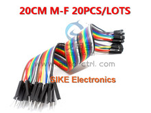 20pcs 20cm 2.54mm 1p-1p Pin Female to Male Color Breadboard Cable Jump Wire Jumper For Arduino