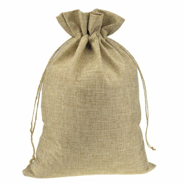 Wedding Party Favor Gift Bags Burlap Jute Drawstring Package Sock For Shoes Scarf Clothes Rice Coffee