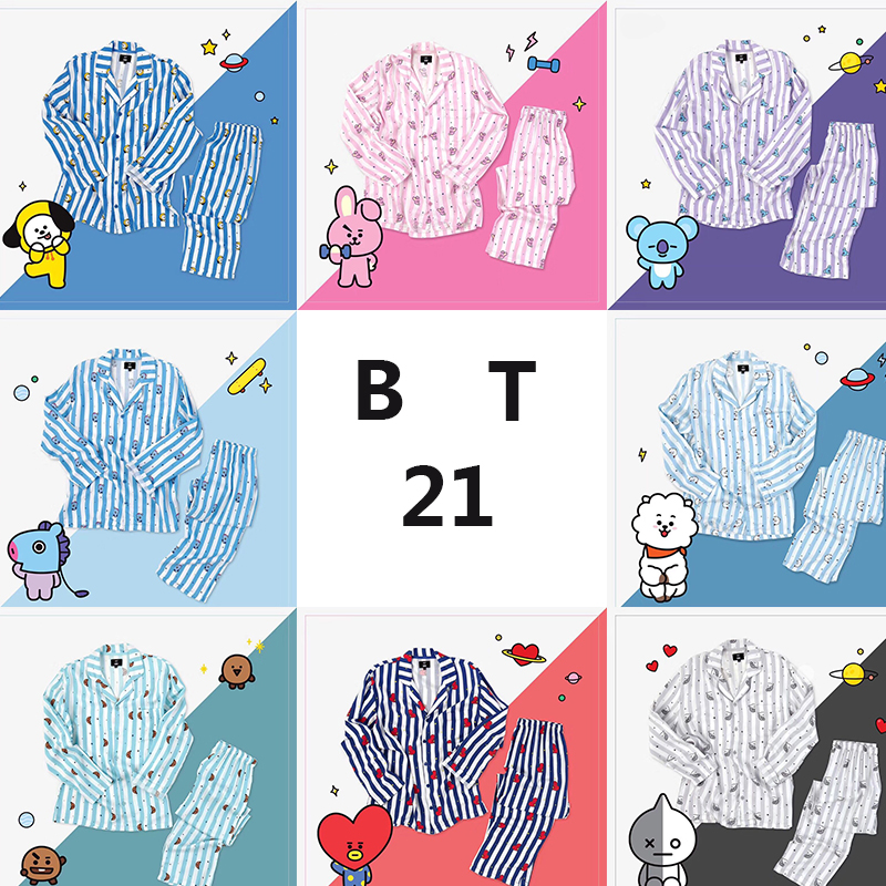 Bt21 Bts Kawaii Cartoon Cotton Pajama Sets K Pop Bangtan Boys Korean Style Fashion Love Yourself Answer V Rm Jin Rm Jin Jungkook Fashionable Patterns Men's Pajama Sets