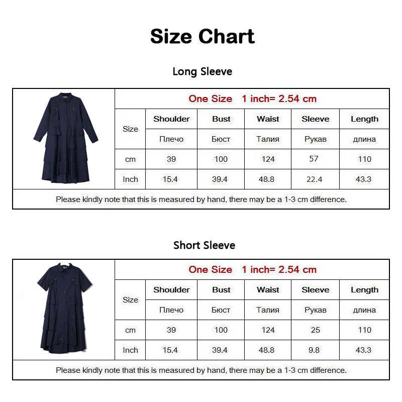 Nieuwe 2019 Koreaanse Stijl Vrouwen Herfst Marine Blauw Shirt Jurk Lange Mouwen Cascading Ruffle Dames Elegante Partij Midi Jurk Gewaad 3807