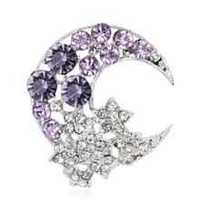 Beautiful Star Moon Shape Brooches Metal Crystal Brooch Pin For Women Dress Wedding Party Decor Jewelry Gifts Accessories недорго, оригинальная цена