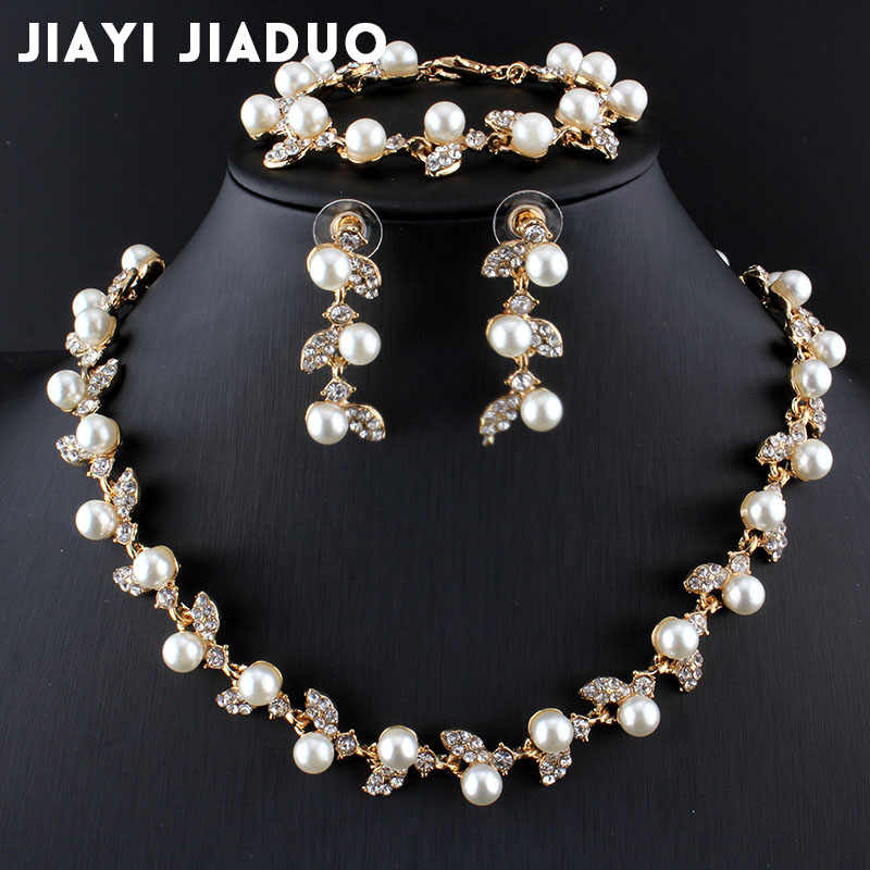 jiayijiaduo Simulated Pearl Bridal Jewelry Sets Gold-Color Necklace Set Wedding Costume Jewelry  Necklace Earrings Bracelet Set