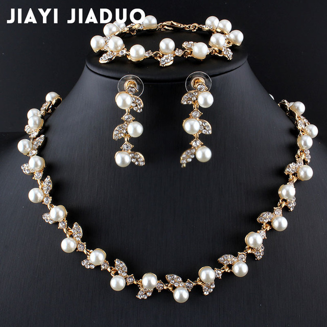 jiayijiaduo Simulated Pearl Bridal Jewelry Sets Gold Color Necklace
