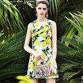 Fashion dress 2017 europeo estrella sin mangas estampado de lemon yellow & white patchwork alta calidad ocasional nueva lentejuelas button dress