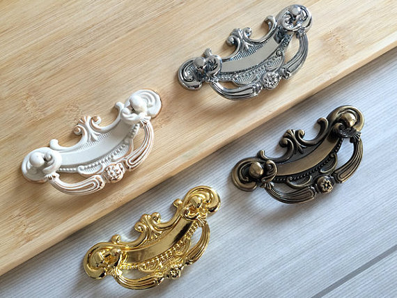 2.5 Shabby Chic Drop Bail Dresser / Drawer Pulls Handles Cabinet Door Knob Kitchen Handle Ornate White Gold Bronze Silver 64mm rhinestone crystal kitchen cabinet door knobs handle drawer handles dresser pulls shabby chic glass knobs silver white clear