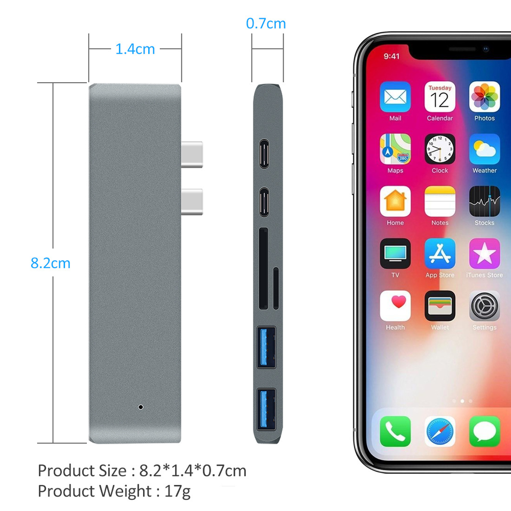 Image 4 - USB 3.0 Type C Hub To HDMI Adapter 4K Thunderbolt 3 USB C Hub with Hub 3.0 TF SD Reader Slot PD for MacBook Pro/Air 2018-in USB Hubs from Computer & Office