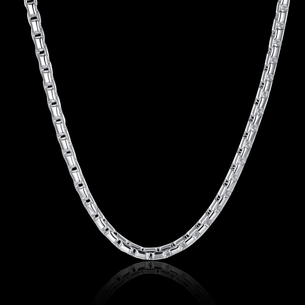 925 sterling silver jewelry statement necklace round grid link chain men fashion silver long necklaces for women accessories 189