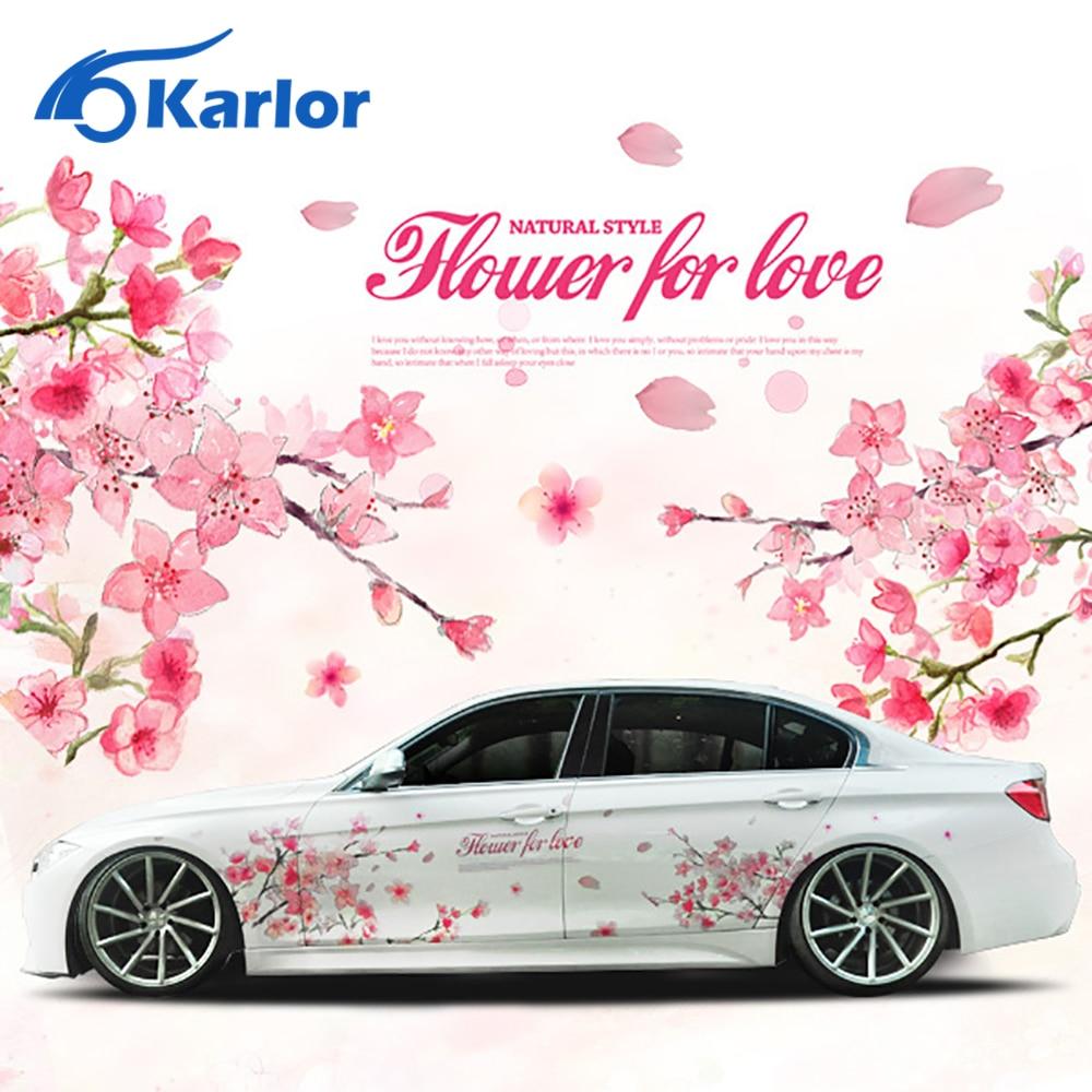 Car sticker design online malaysia - 2015 New 1 Pair Oriental Cherry Blossom Sakura Flower Wedding Pink Romantic Car Auto Decal Wedding
