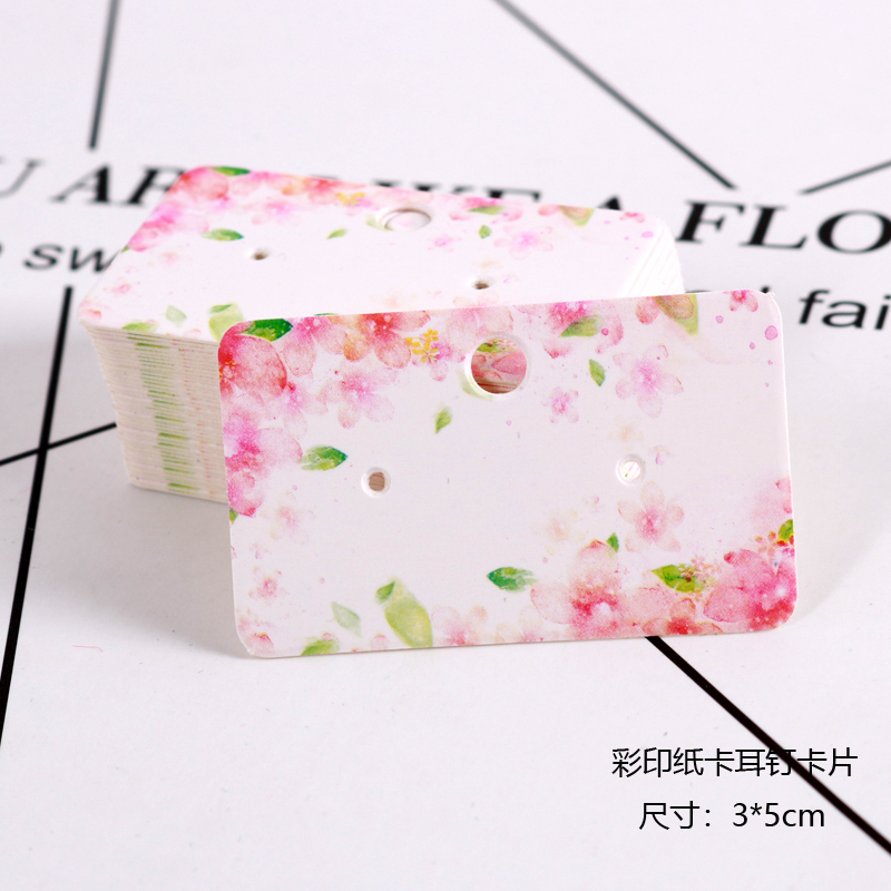 50pcs 3x5cm White Paper Cards With Printing Ear Studs Card Jewelry Organizer Packaging Display Earrings Cards Favor Label Tags