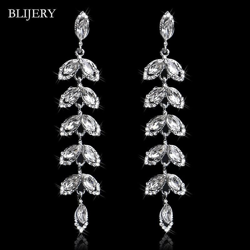 BLIJERY Branch Design Bridal Long Earrings Silver Color