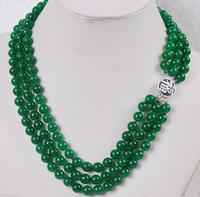 Hot Sell Noble 3Rows 8mm Green Jade S Jewelry Necklace 925 Silver ClaspAA1 5 27