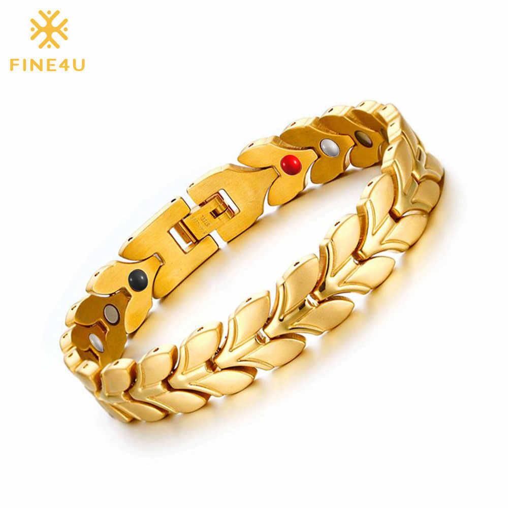 FINE4U B081 золотой цвет здоровья магнитный браслет для женщин 316L нержавеющая сталь браслеты и оздоровительный германий