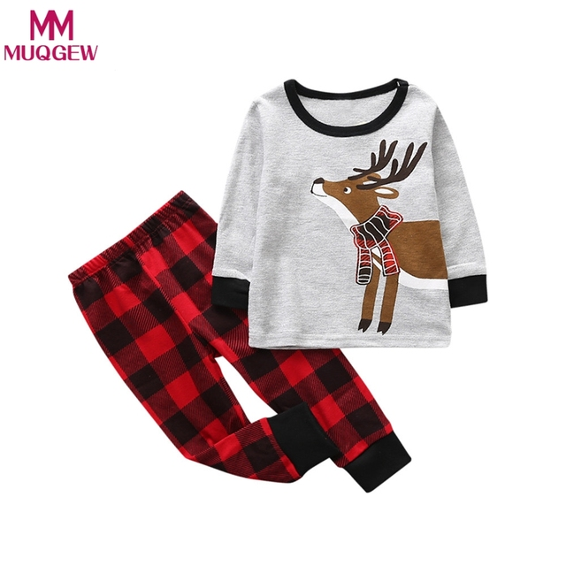7ccc03d373a6 2018 Baby Girl Boy Deer Nightwear Pajamas Set Tops+Pant Sleepwear ...