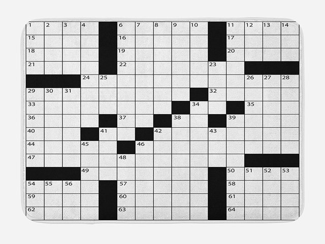 Word Search Puzzle Bath Mat Blank Newspaper Style Crossword With Numbers In Grid