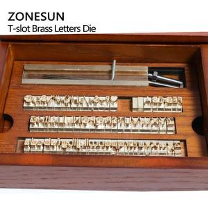 Image 2 - ZONESUN 6 مللي متر T فتحة 10 سنتيمتر تركيبات + 52 حروف الأبجدية + 10 أرقام + 20 رمز مخصص ختم الجلود حنين أداة العلامة التجارية آلة الحديد