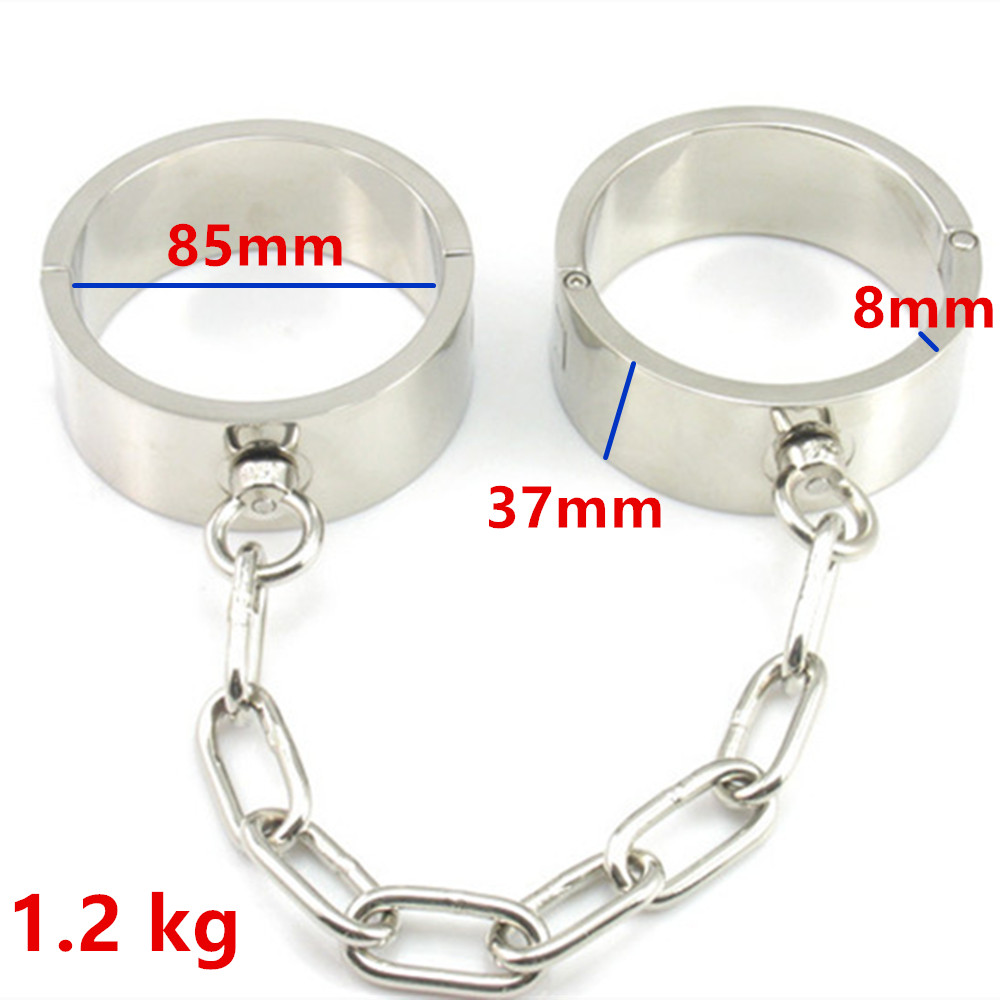 Heavy Stainless Steel Ankle Cuffs Metal Restraints Bondage Slave In Adult Games For Couples Fetish Sex Toys For Men And Women