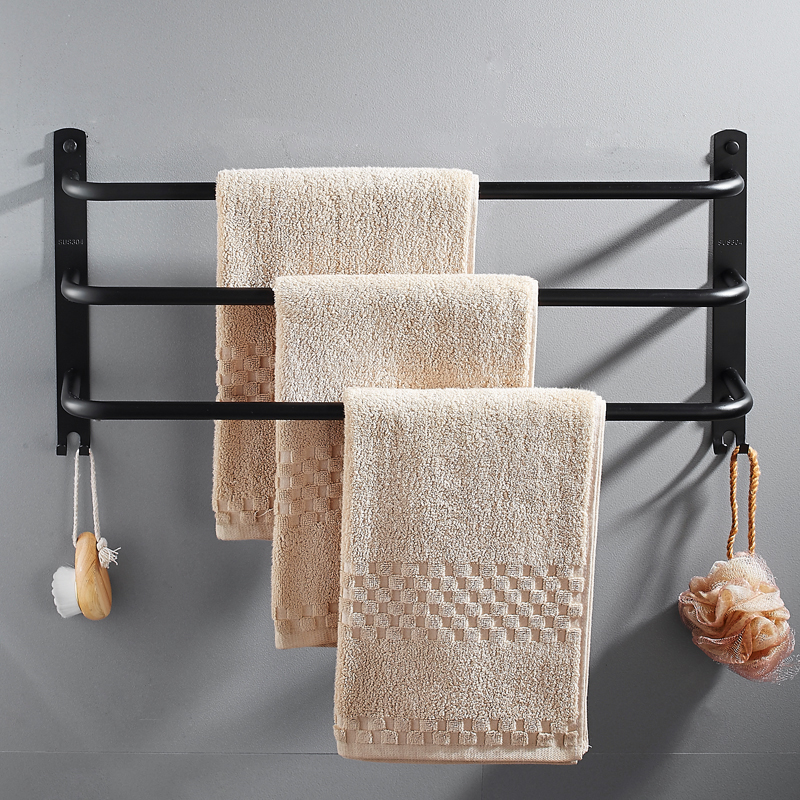 Toilet towel hanging frame 304 stainless steel bathroom towel pole 3-bar black bathroom hardware pendant wall mounted стоимость