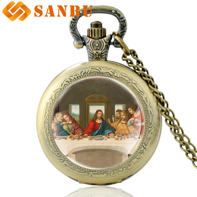 Vintage Bronze Da Vinci Works The Last Supper Quartz Pocket Watch Retro Men Women Classic Pendant Necklace Clock