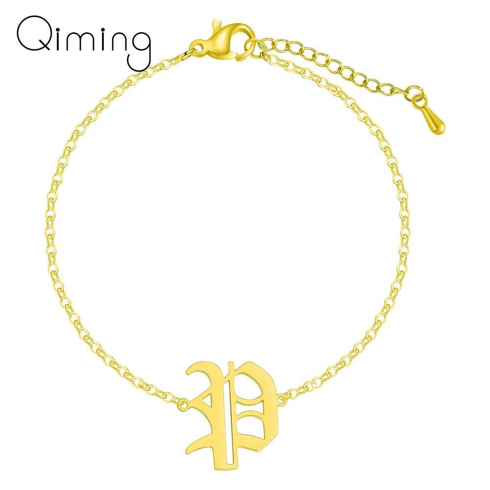 Stary angielski początkowa P bransoletka kobiety łańcuszek na kostkę minimalistyczny ze stali nierdzewnej kapitału alfabet czcionki list 26 A-Z bransoletka prezent urodzinowy