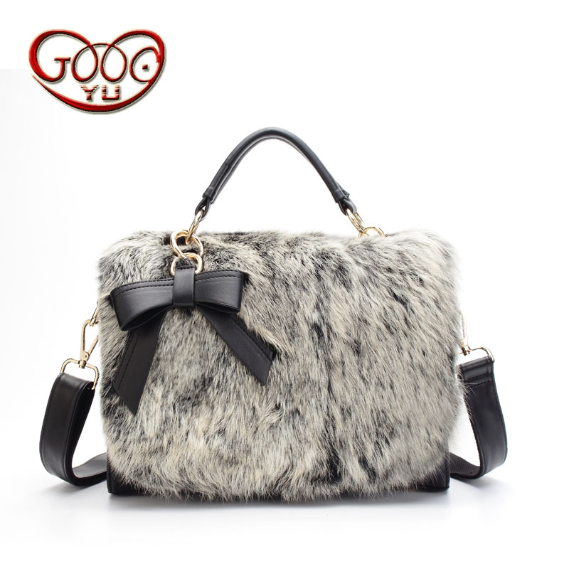 New bow bunny rabbit feathers cross section square leather fur package Europe and the United States luxury ladies handbag should black and white senior rabbit fur hat