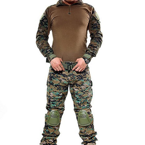 Wooldand Camouflage Military Uniform Clothes Suit Men US Army Multicam Hunting Military Combat Shirt + Cargo Pants Knee Pads produino 5v voltage boost mobile power module green 1a