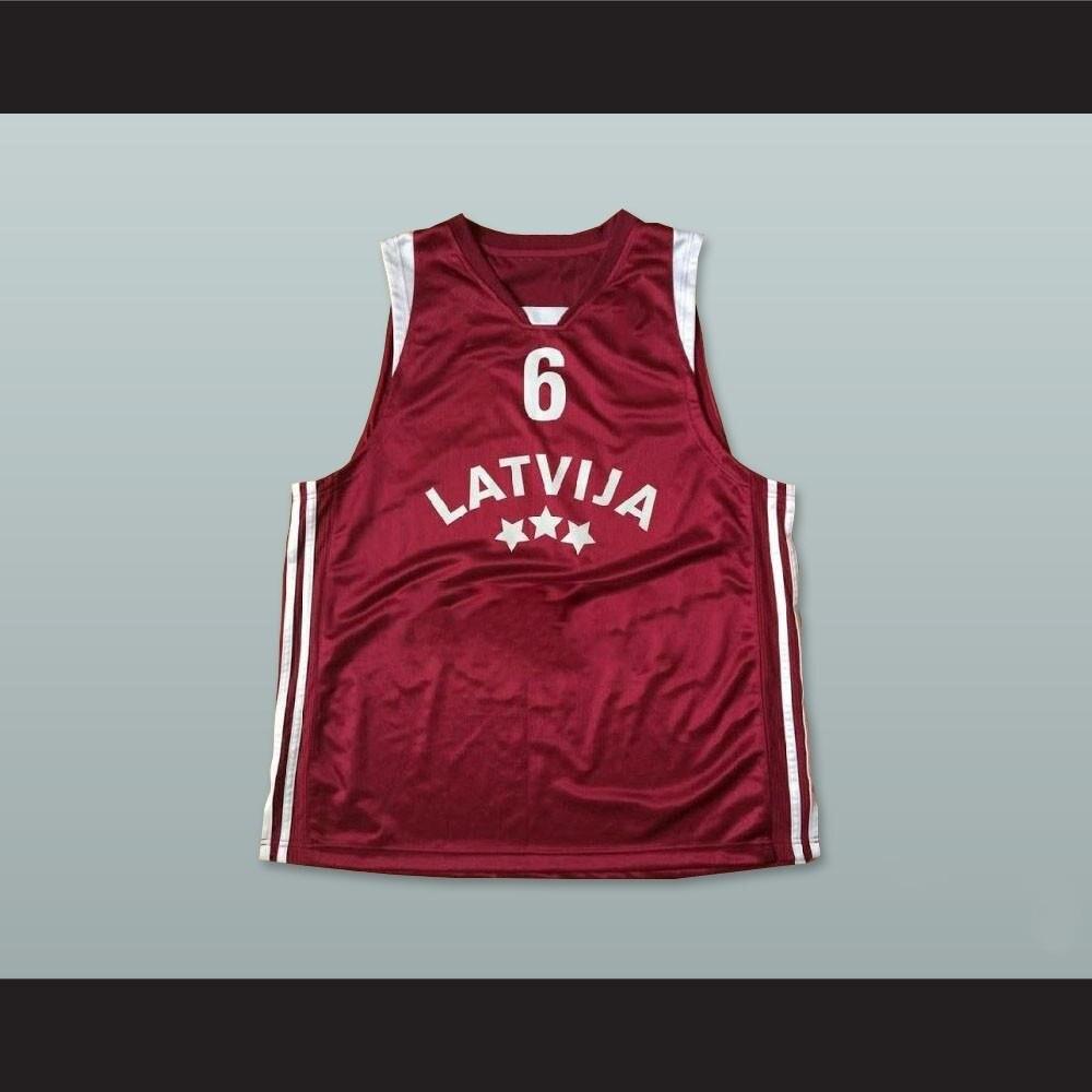 ANY SIZE KRISTAPS PORZINGIS #6 LATVIA BASKETBALL JERSEY MAROON
