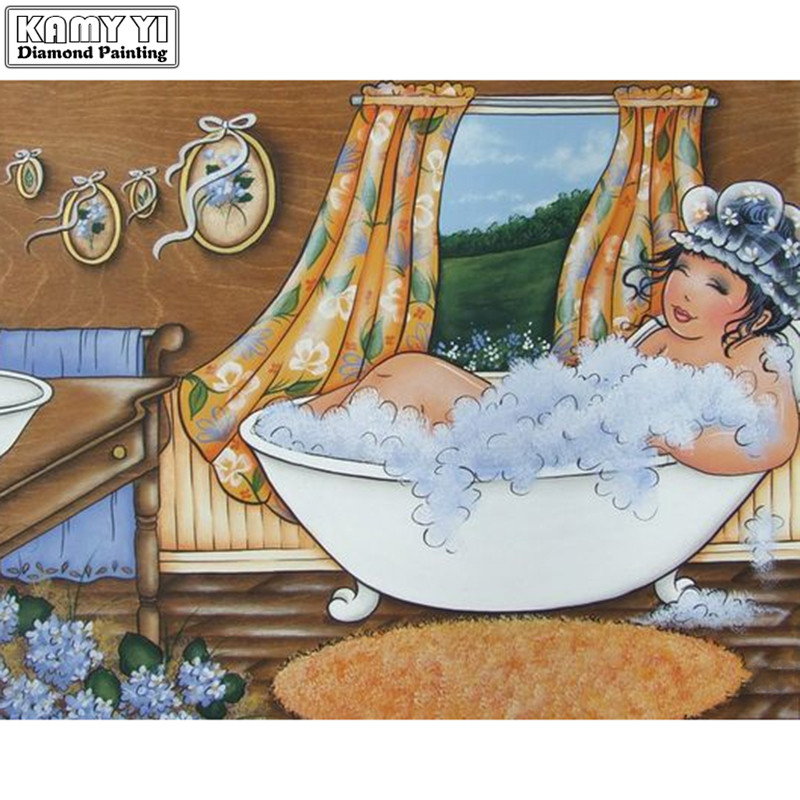5d diy Diamond embroidery fat lady in bathroom diamond painting Cross Stitch full  Rhinestone mosaic decoration5d diy Diamond embroidery fat lady in bathroom diamond painting Cross Stitch full  Rhinestone mosaic decoration