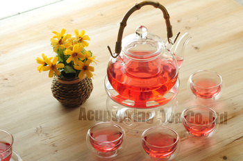 Bamboo handle 600ml Glass teapot with infuser/filter+ 4/6 Cups + Warmer+candle,tea set for Chinese/flower/green/black/puer tea
