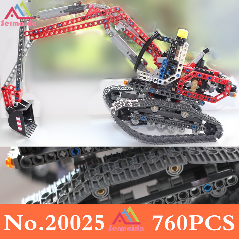sermoido 20025 Genuine Technic Series the Red Engineering Excavator Set 8294 Building Blocks Bricks Educational Toys DBP171 lepin 20025 760pcs technic series red excavator building blocks bricks toys for children gift