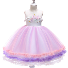 Girls Unicorn Costume Lace Mesh Flowers Tulle Dress Sleeveless Party Costume Evening Gowns
